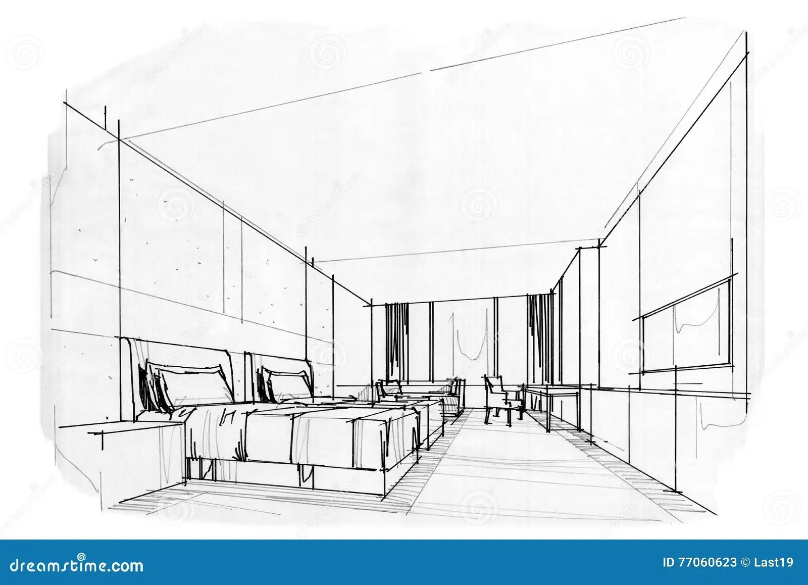 Esboce A Sala Interior Da Cama Da Perspectiva Design De
