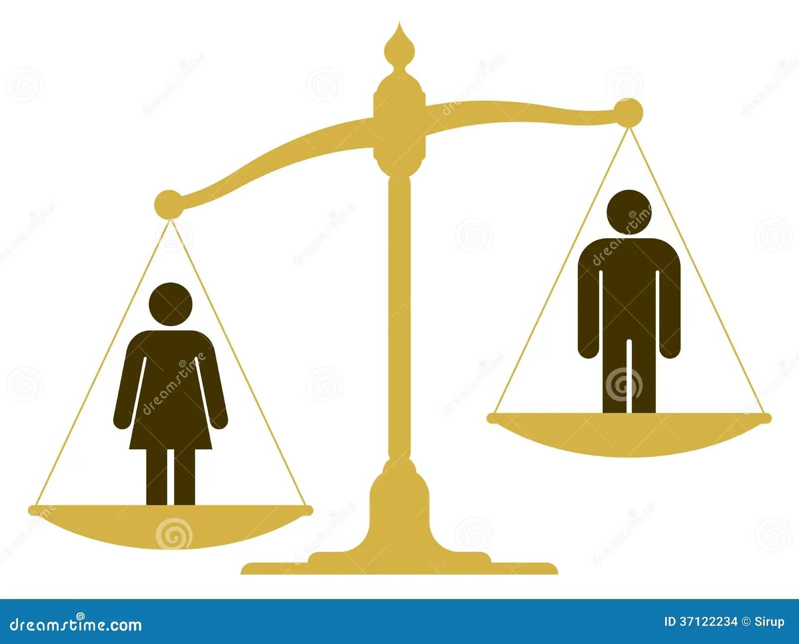 Escala Desequilibrada Con Un Hombre Y Una Mujer