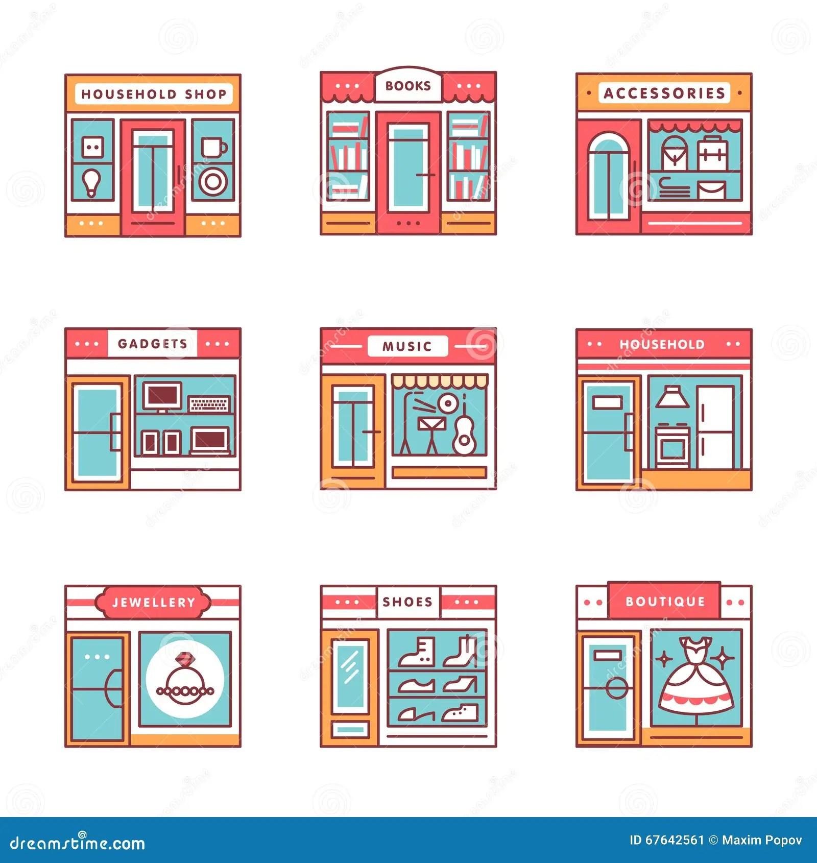Escaparates De Los Edificios De Las Tiendas Y De Tiendas