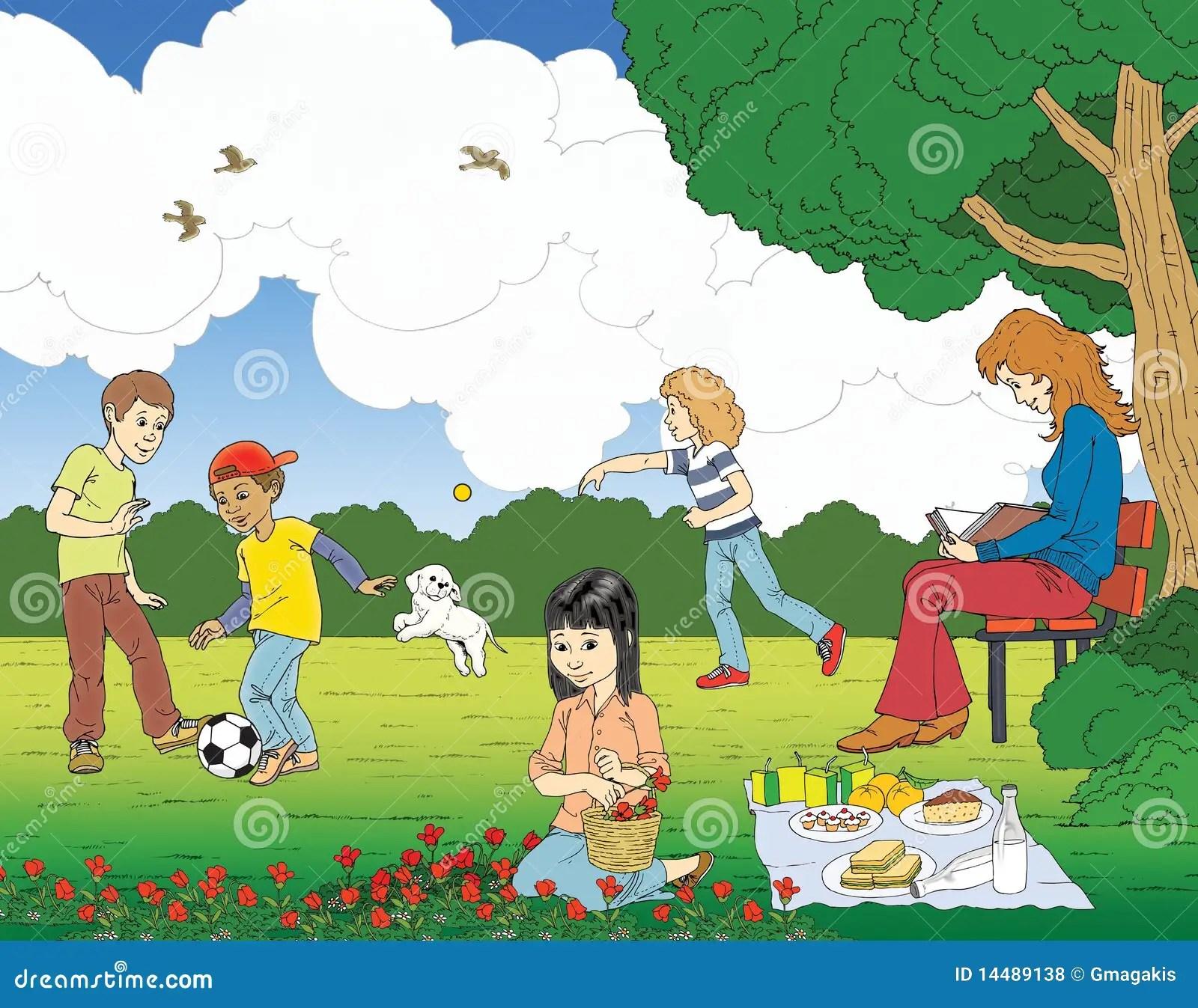 Escena Del Parque Stock De Ilustracion Ilustracion De