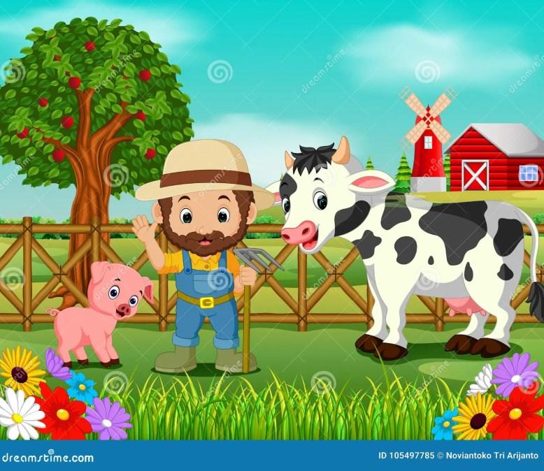 Resultado de imagem para desenho de fazenda com cavalo, galinha, porco e boi