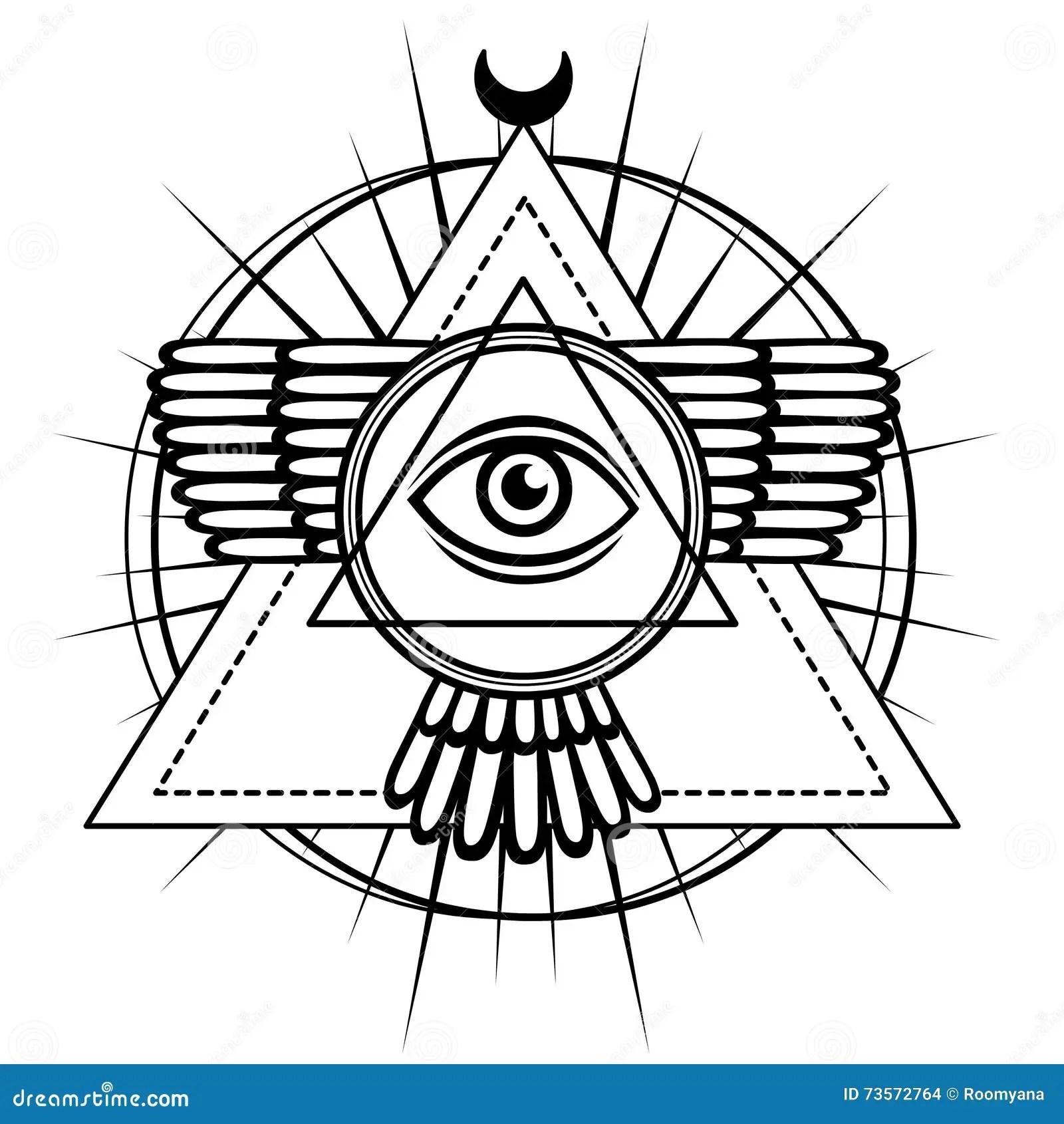 Esoteriskt Symbol Bevingad Pyramid Kunskapsoga Sakral