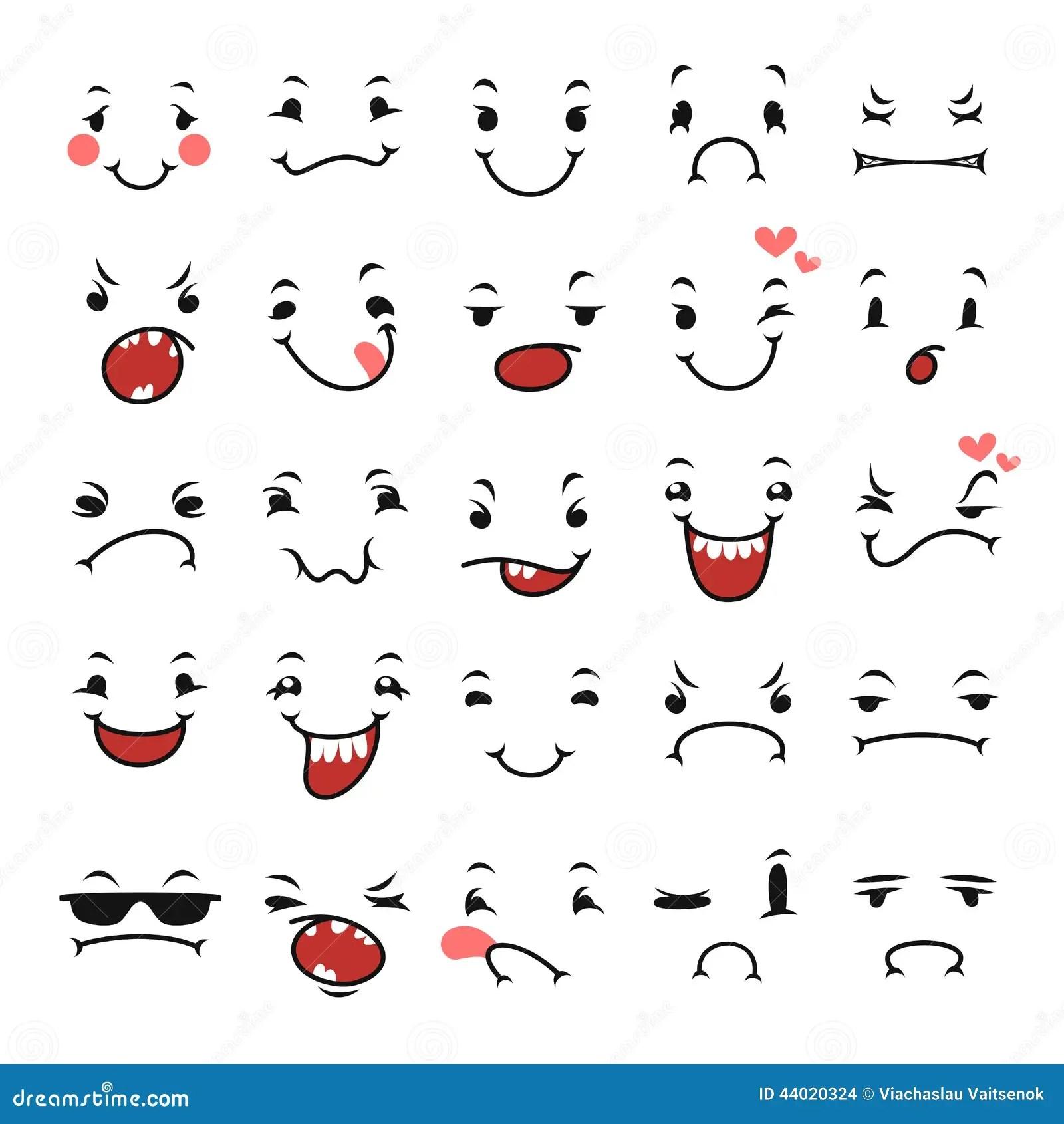 Espressioni Facciali Di Scarabocchio Fissate Per