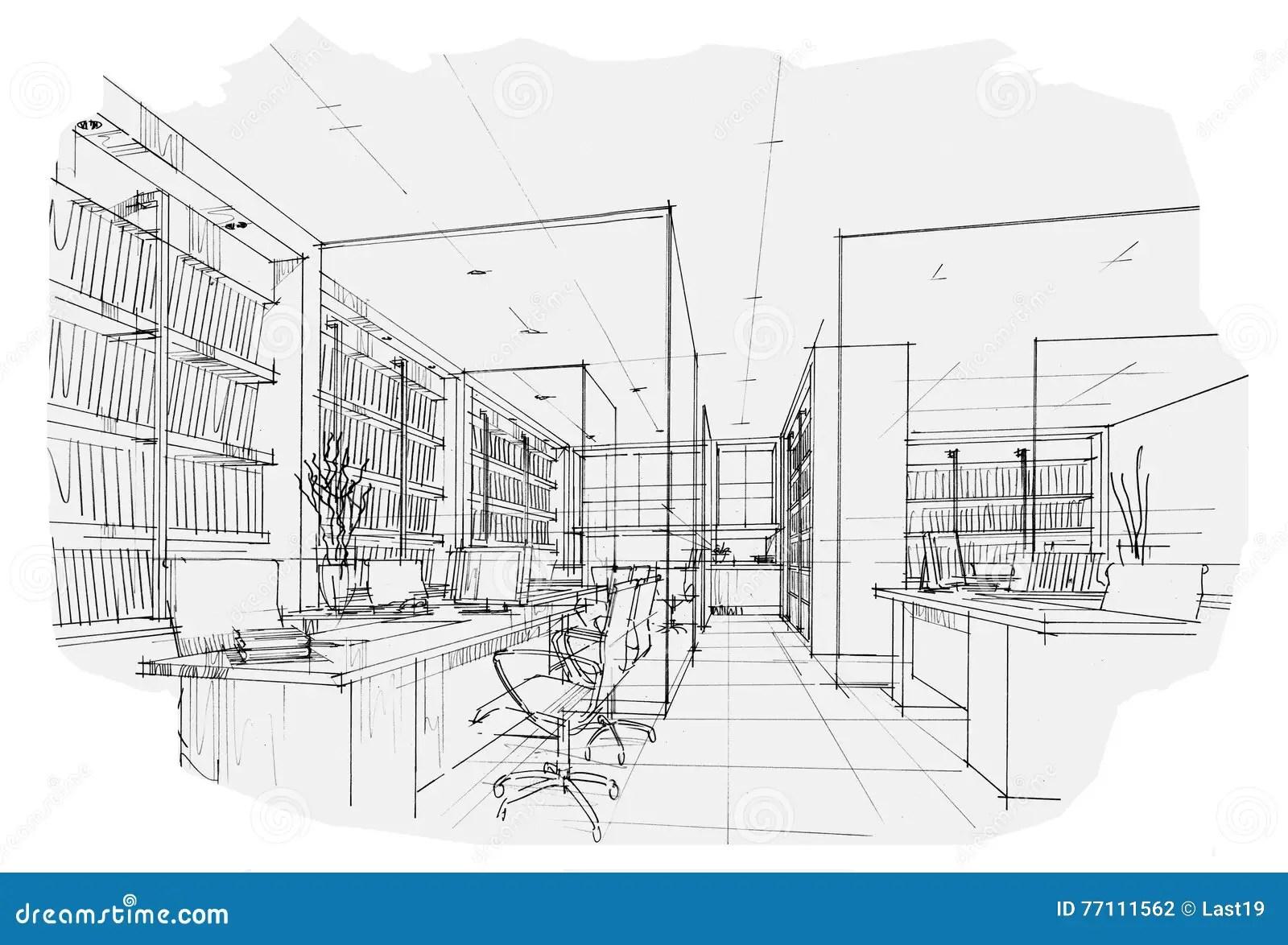 Esquissez Le Bureau Interieur De Perspective Conception