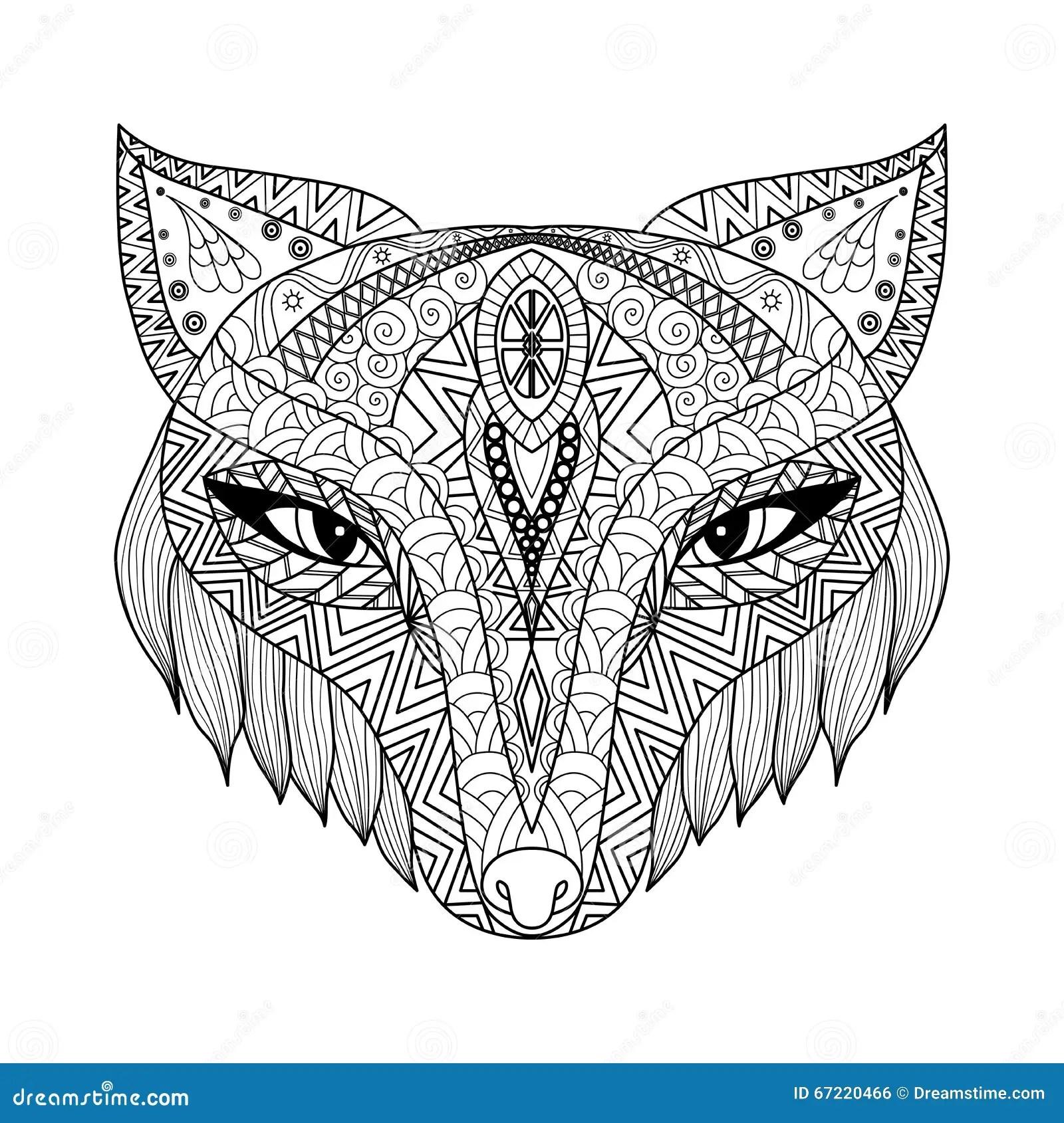 Estilo Do Zentangle Do Fox Para O Livro Para Colorir Para