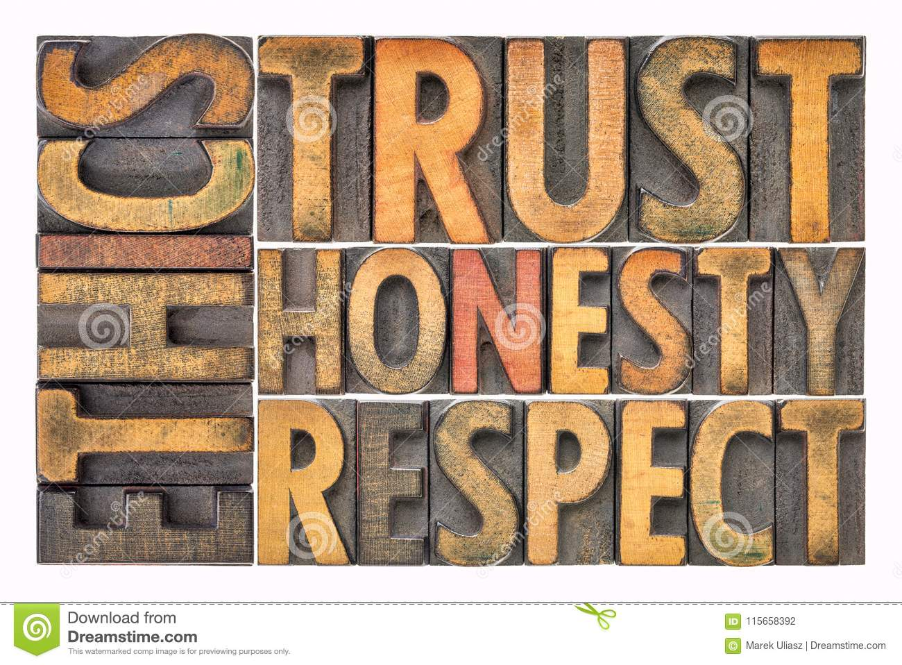 Ethics Trust Honesty Respect Word Abstract In Wood Type