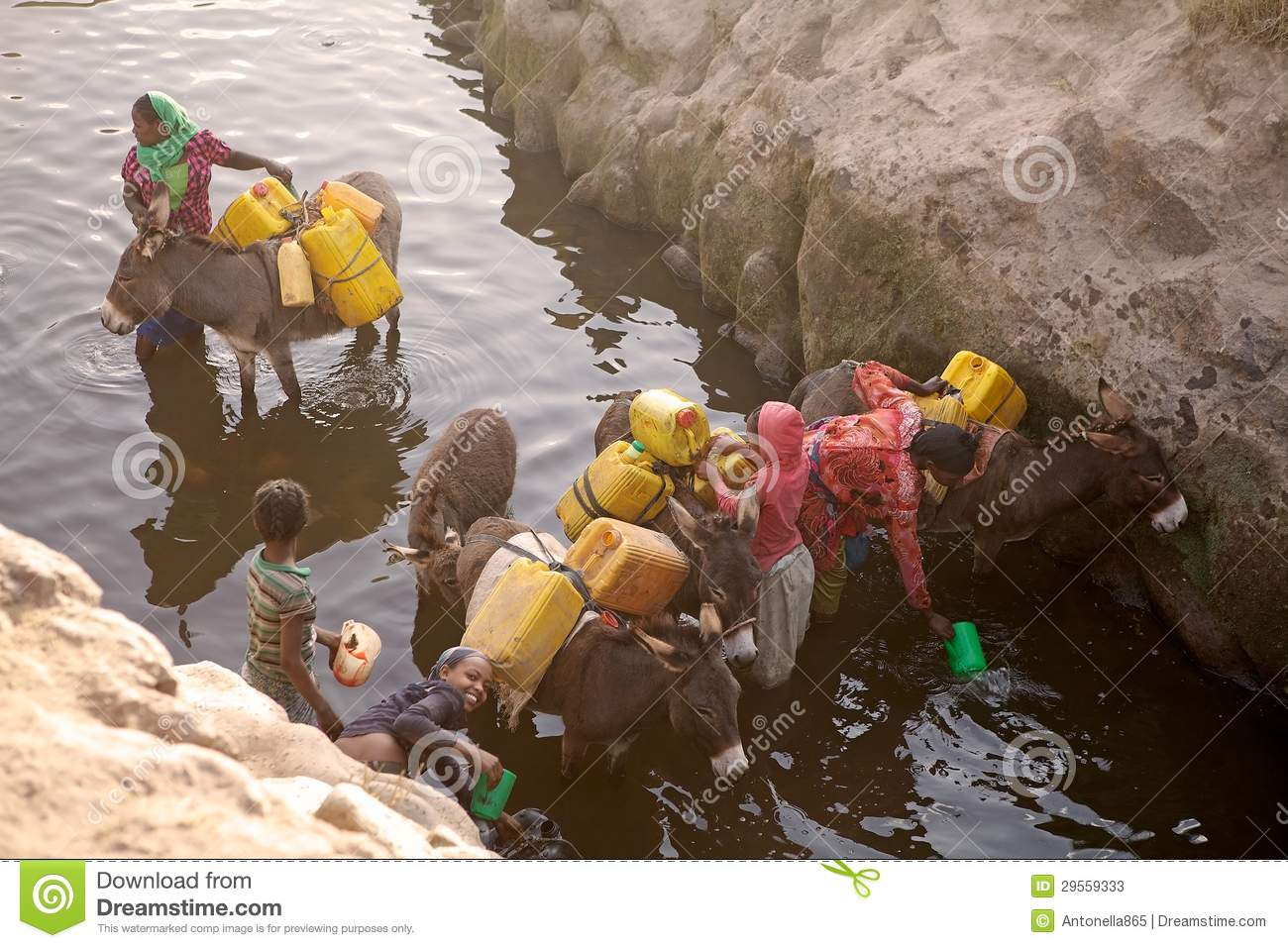 Ethiopian Woman And Water Supply Editorial Stock Photo