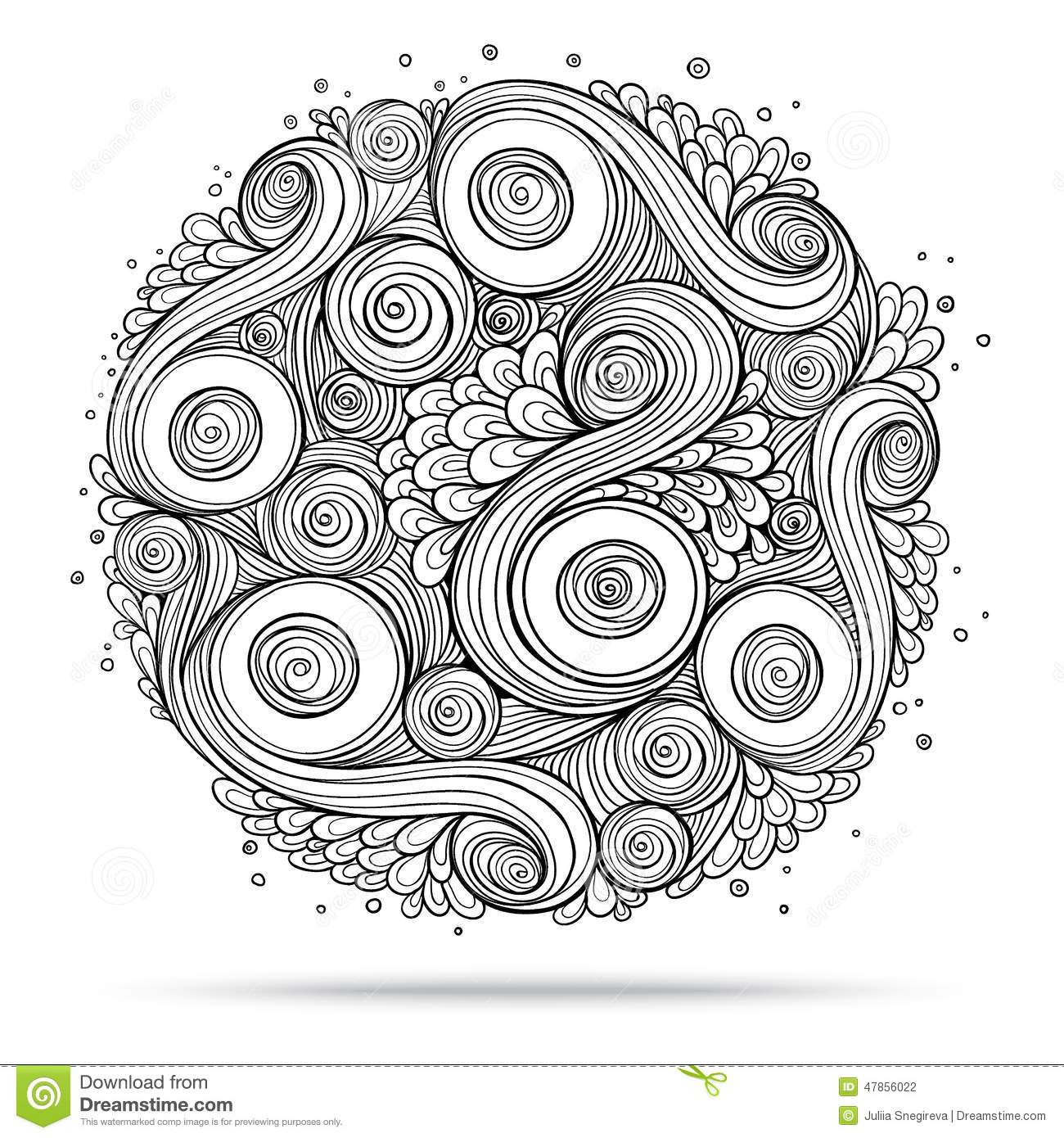 Ethnic Floral Doodle Pattern Circle In Stock