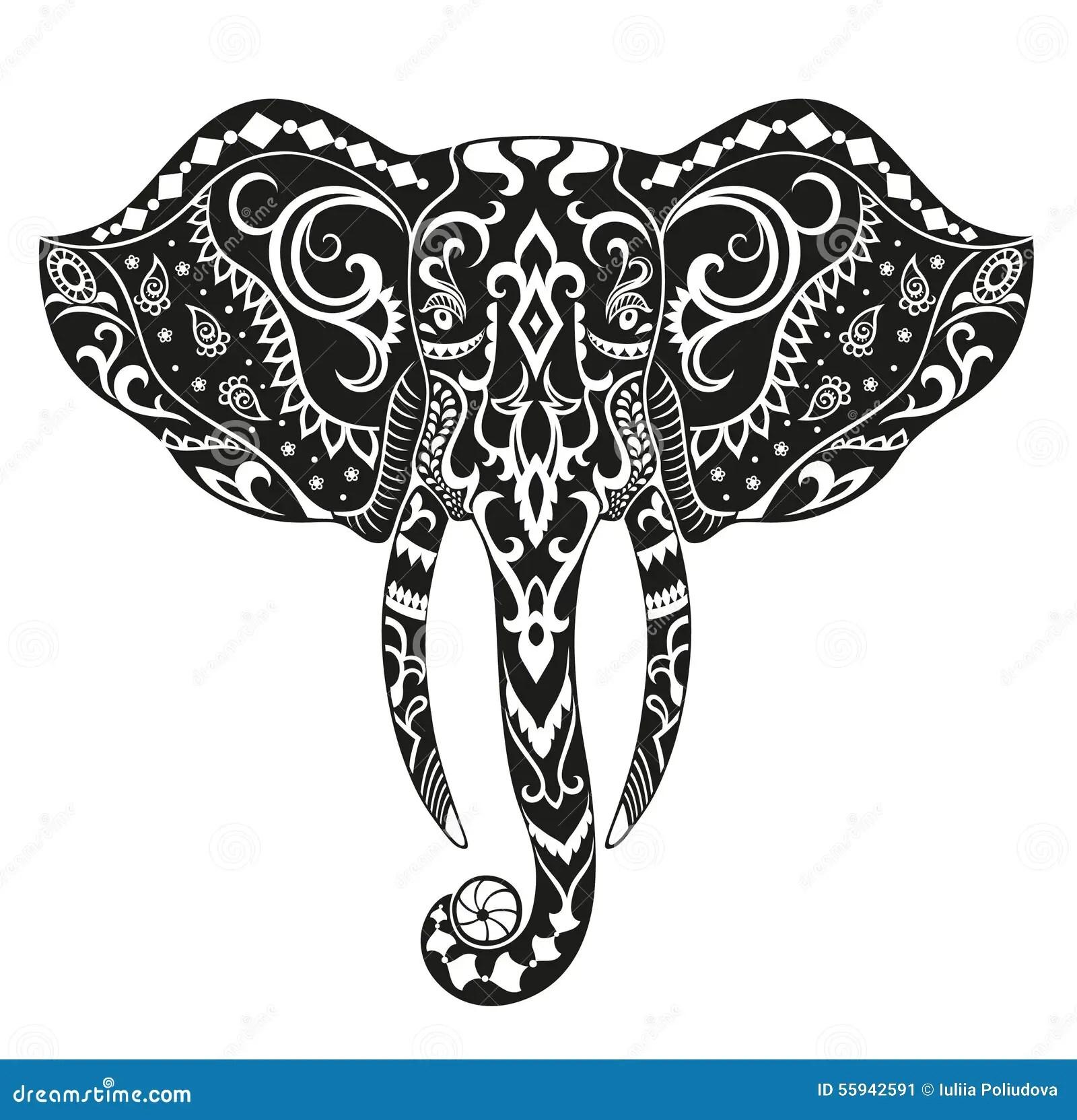 Ethnic Ornamented Elephant Stock Illustration Image Of
