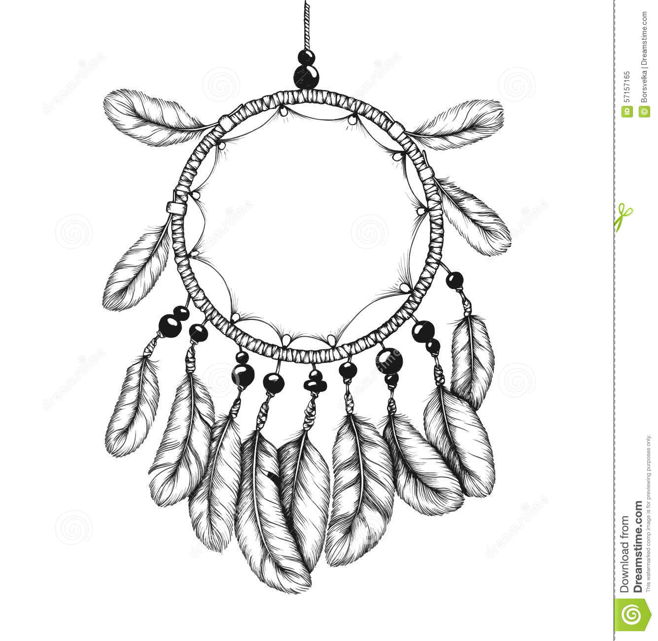 Ethnic Tribal Dream Catcher With Feathers Stock Vector