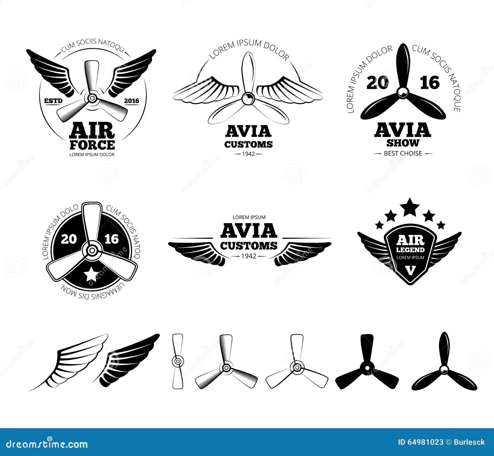 Etichette D Annata Di Vettore Dell Aeroplano Emblemi E