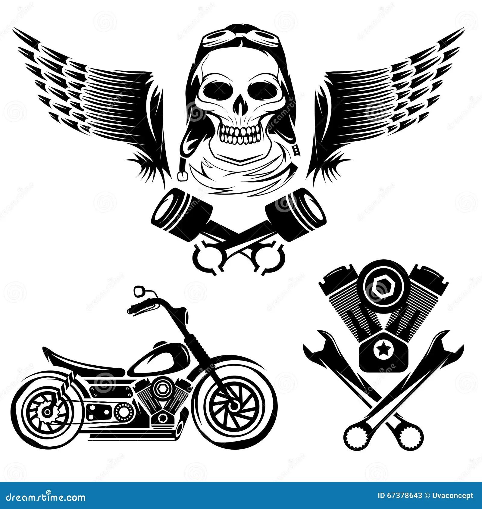 Etiquetas Del Tema Con La Moto El Craneo El Motor Y Los