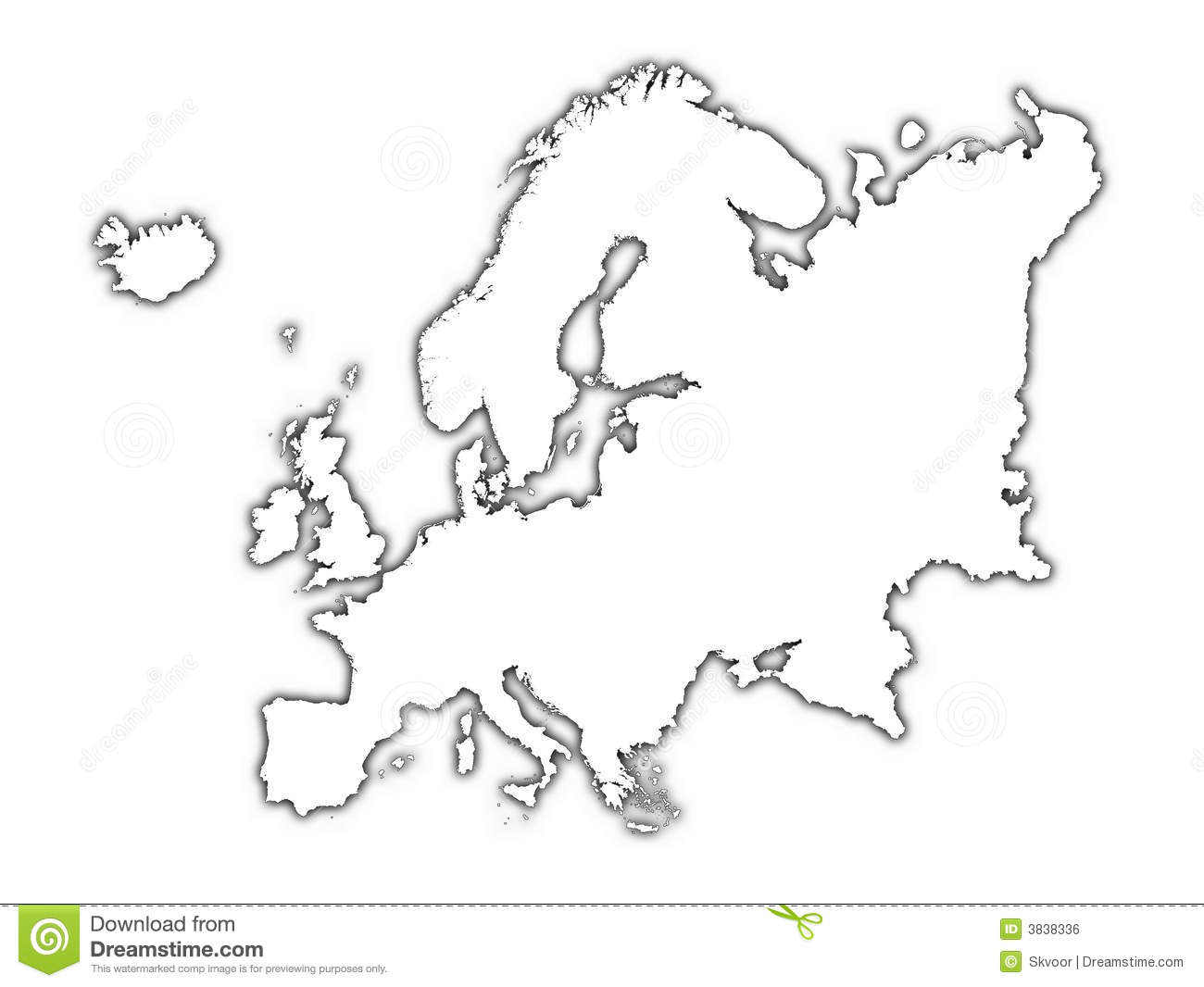 Europe Outline Map With Shadow Stock Illustration