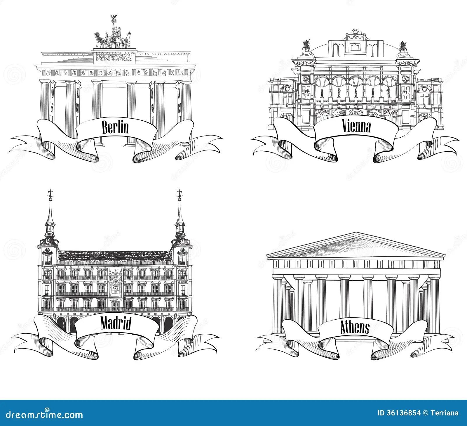 European Cities Symbols Sketch Set Athens Berlin Madrid