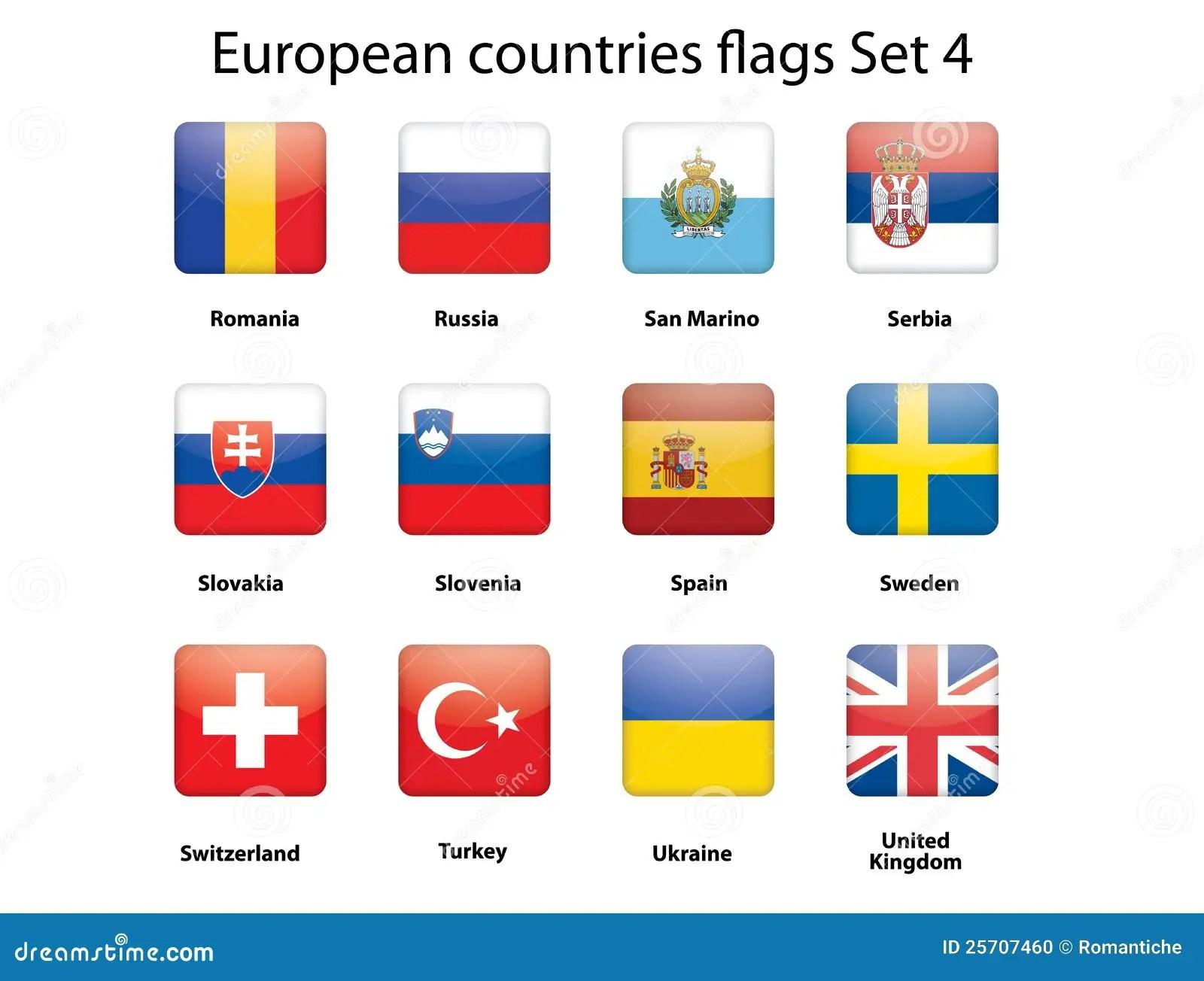 European Countries Flags Set 4 Stock Photo