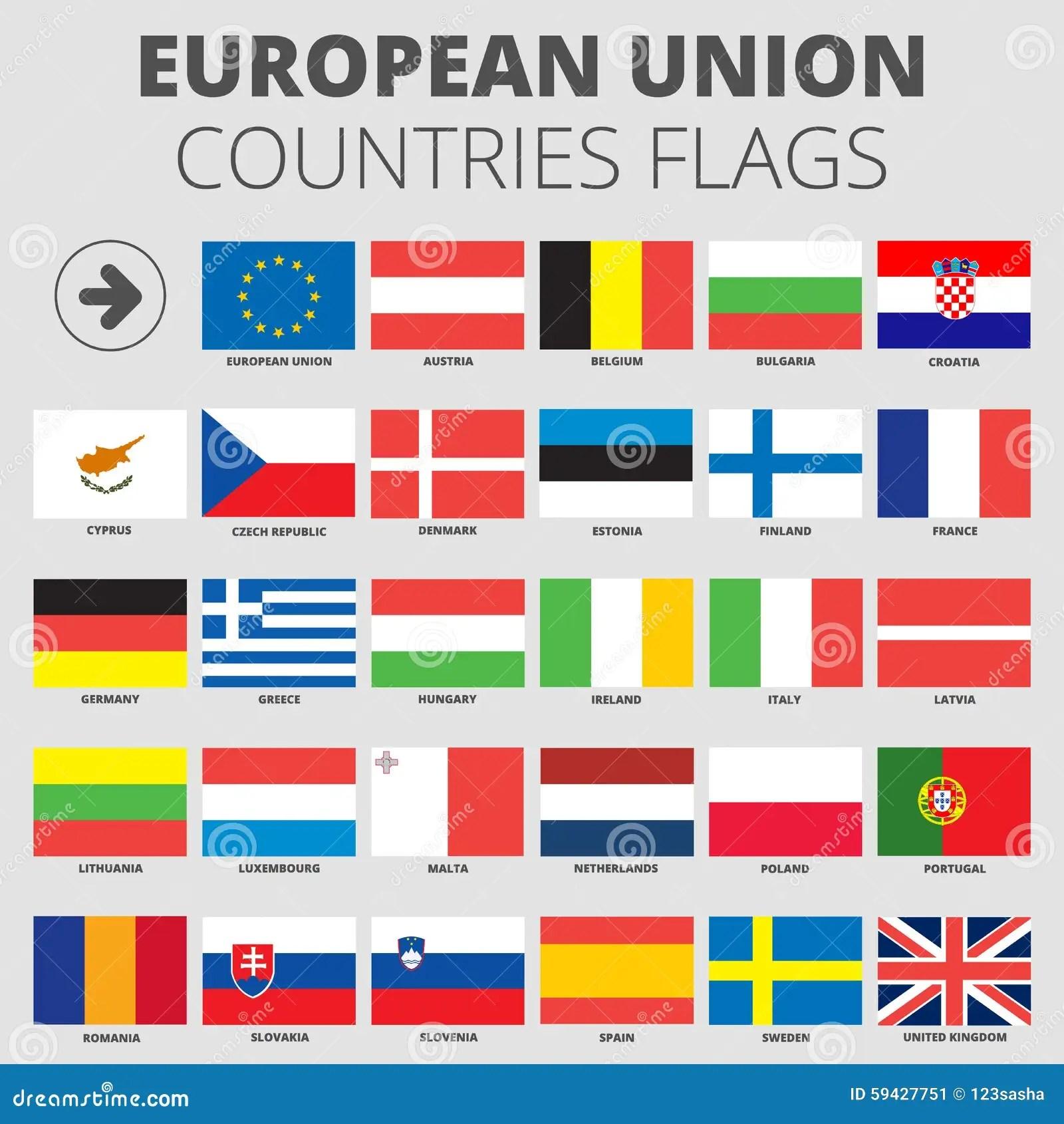 European Union Country Flags Stock Vector