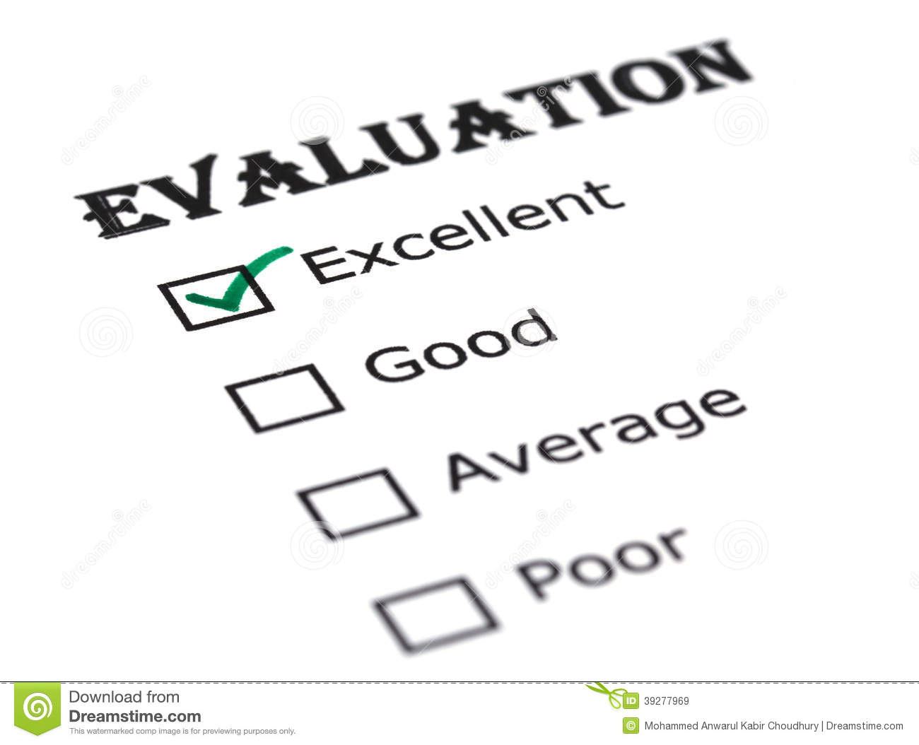 Evaluation Paper Stock Photo