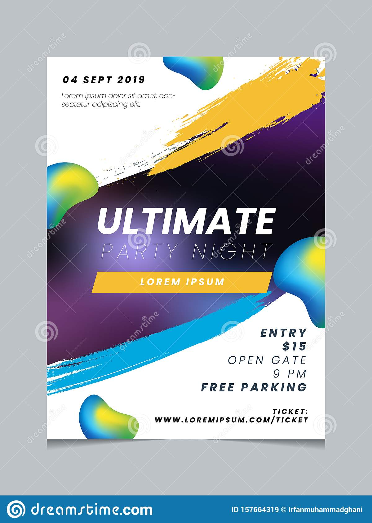 https www dreamstime com event poster layout design template vector abstract fluid gradient background party multipurpose brochure grunge style image157664319