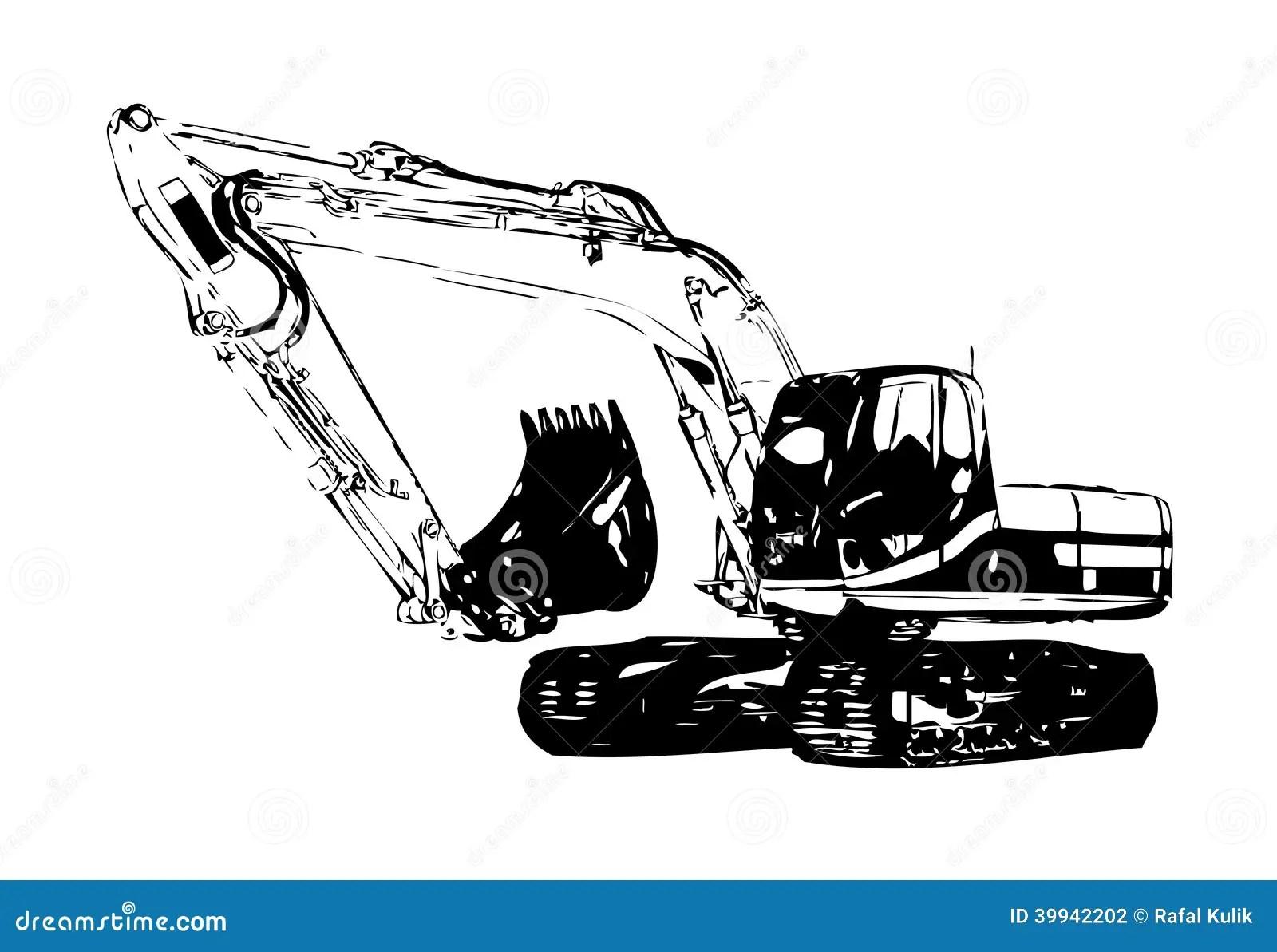 Excavator Illustration Color Isolated Art Stock Illustration