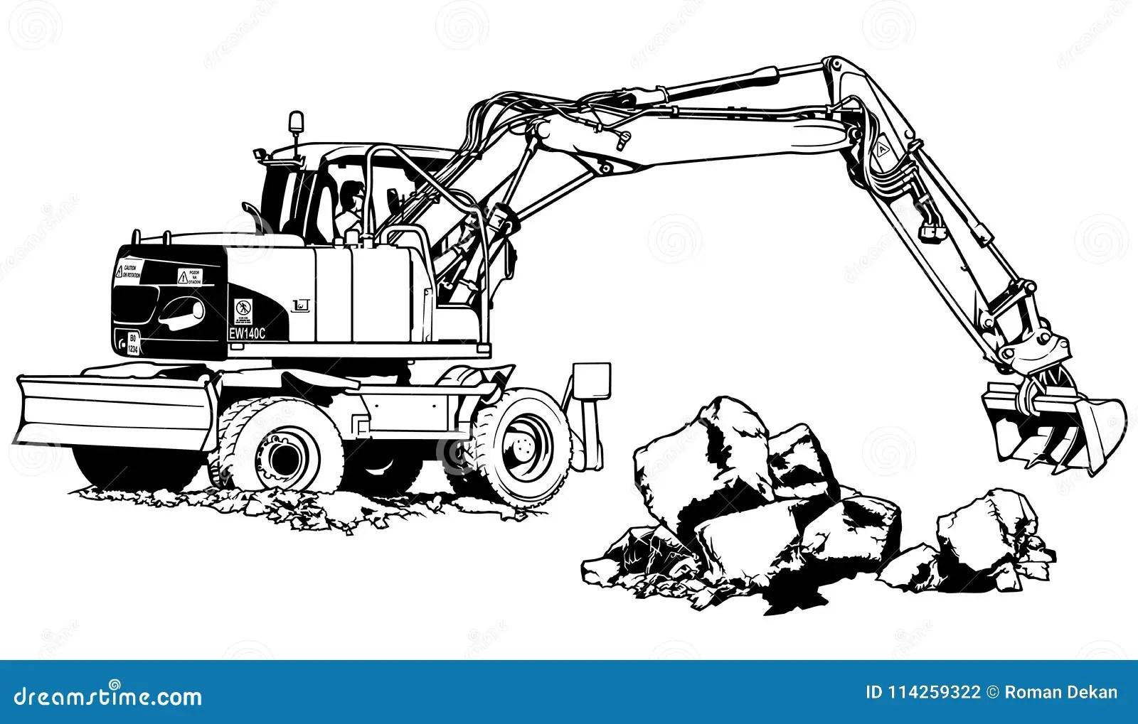 Excavator Machine In Work Stock Vector Illustration Of