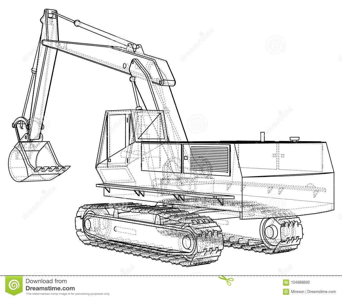 Excavator Vector Wire Frame Eps10 Format Vector Created