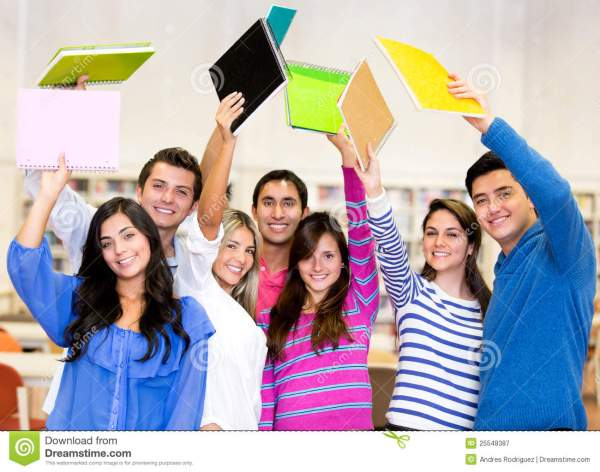 Excited group of students stock image. Image of friendship ...