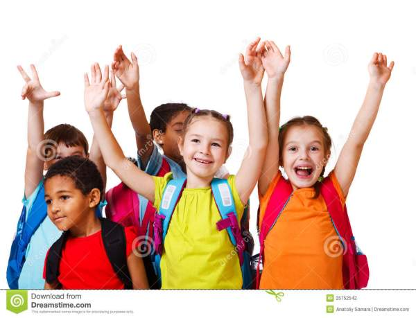 Excited school aged kids stock photo. Image of cute, girl ...