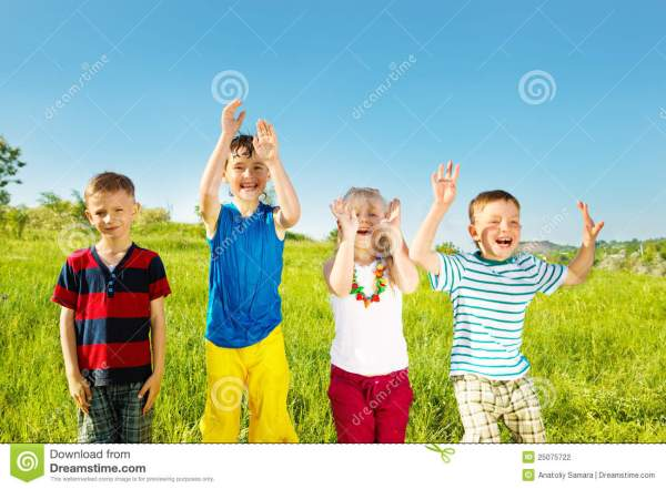 Excited Soaked Kids Stock Photography - Image: 25075722