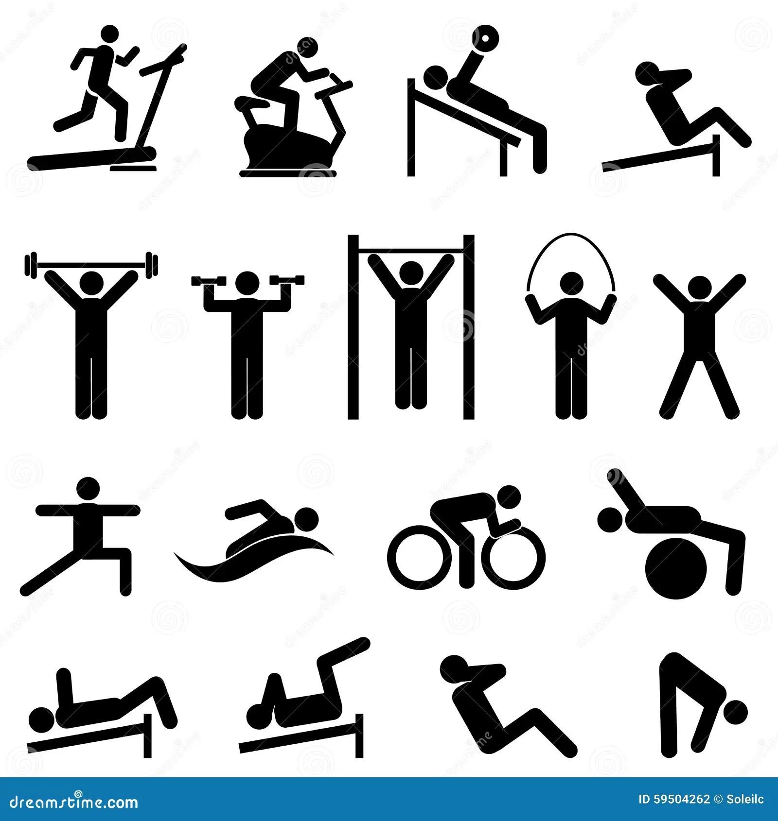 Exercicio Aptidao Saude E Icones Do Gym Ilustracao Do