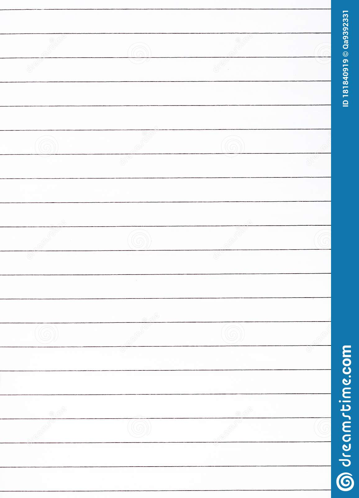 Exercise Book Paper Page With Lines One Page Blank Lined