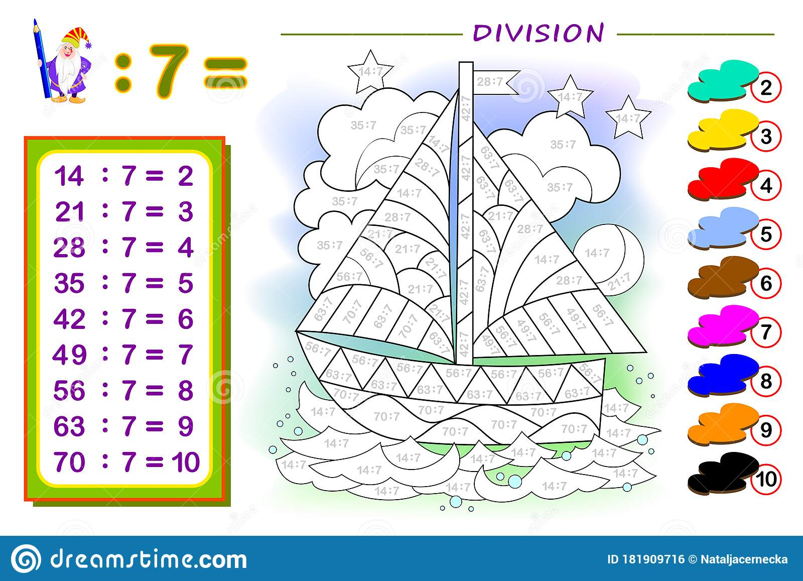 Exercise For Kids With Division By Number 7 Paint The