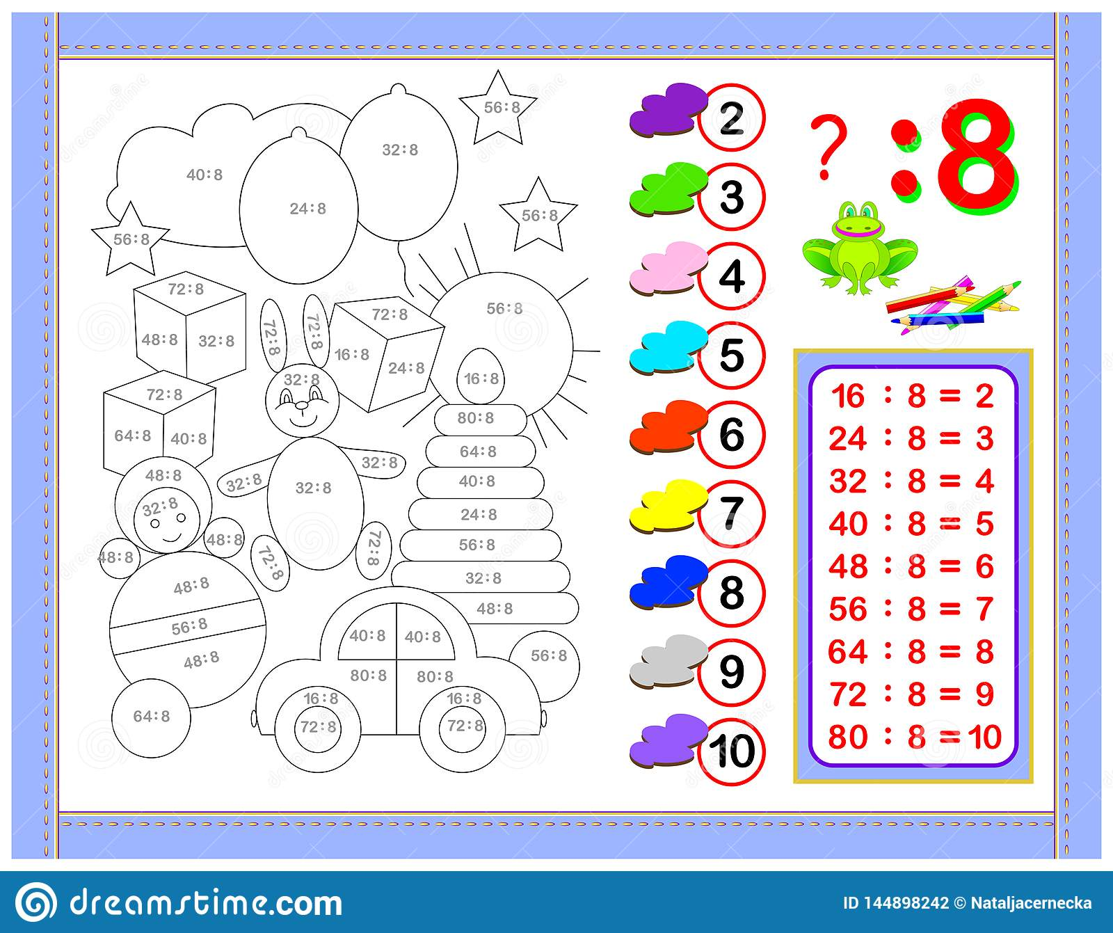 Exercises For Kids With Division By Number 8 Paint The