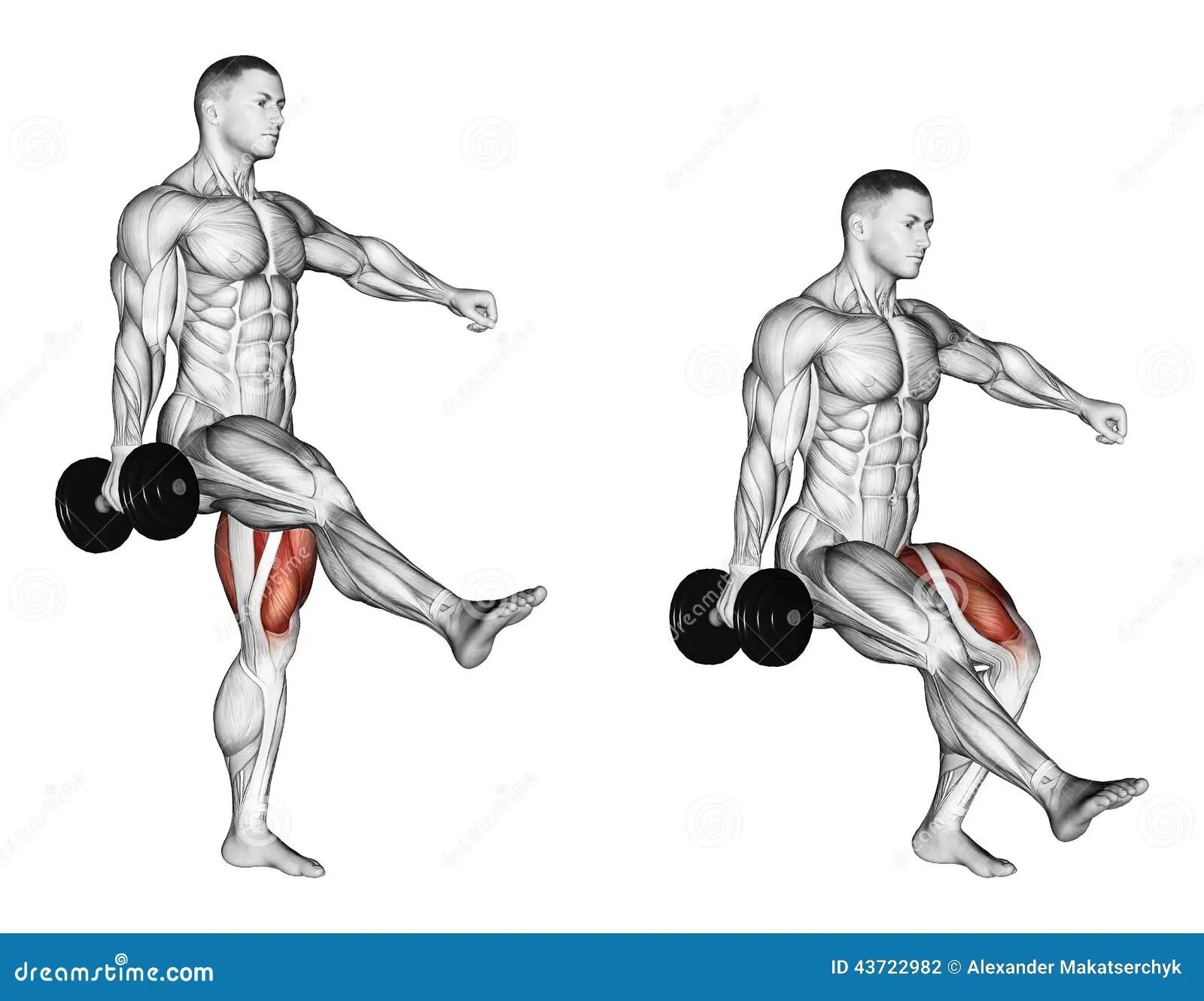 Exercising Squatting On One Leg Stock Illustration
