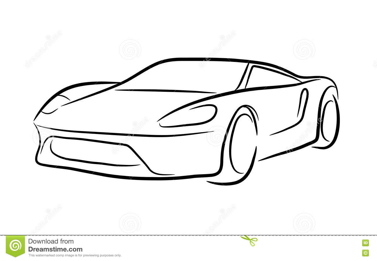 Exotic Car Outline Stock Vector Illustration Of Exotic