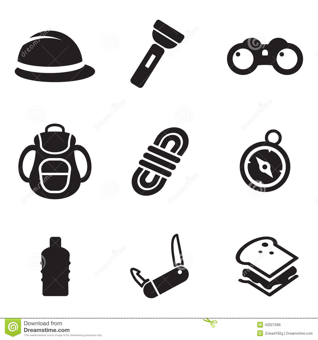 Expedition Icons Stock Vector Image Of Isolated Backpack
