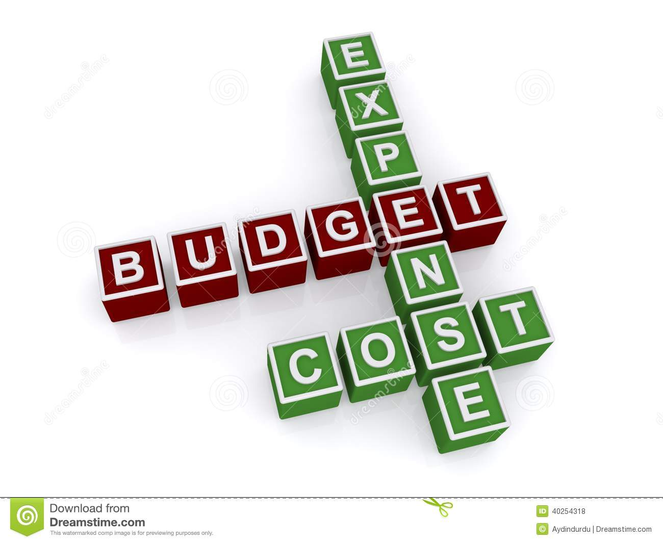 Expense Budget Cost Crossword Stock Illustration