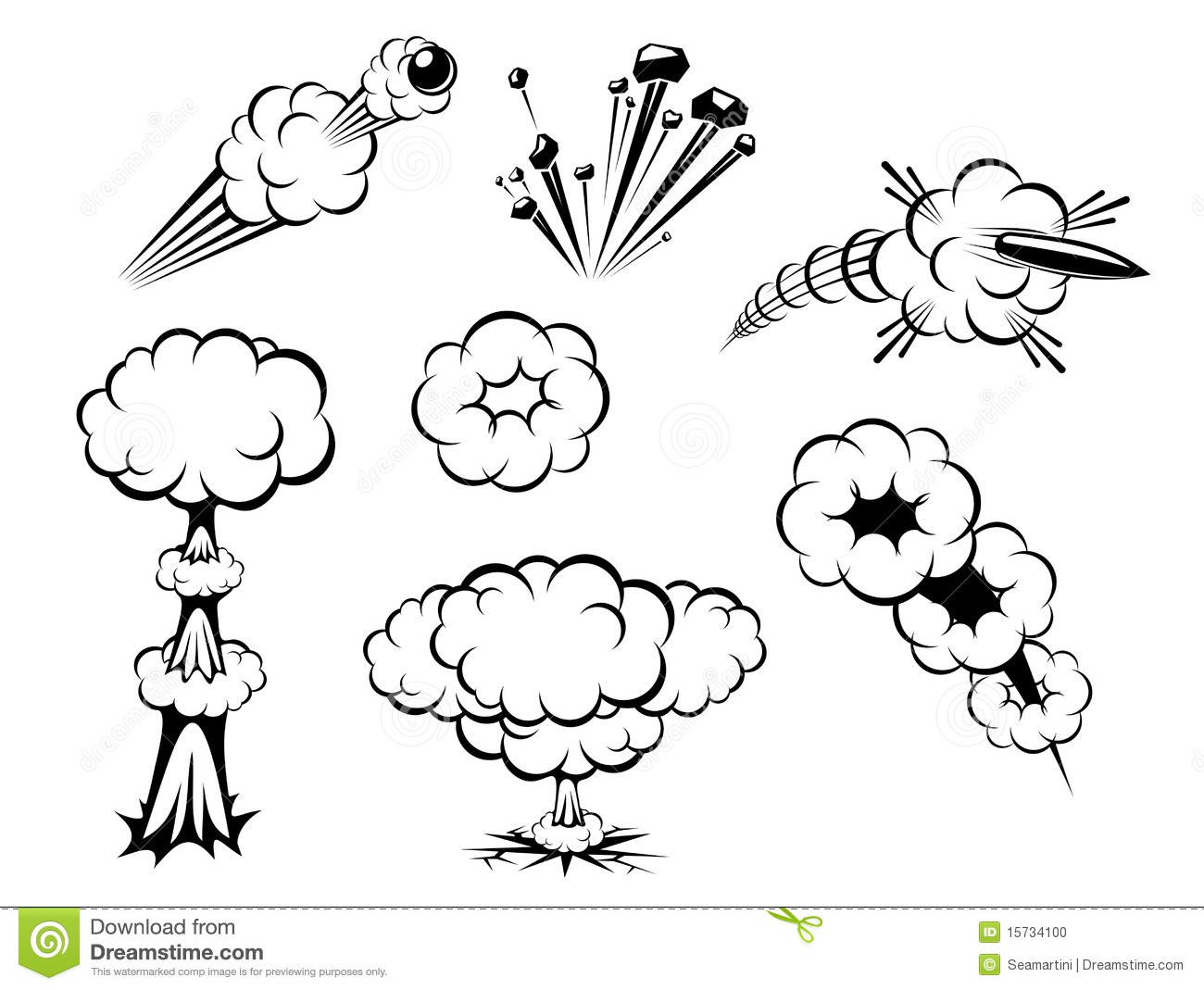 Explosions Set Stock Vector Illustration Of Graphic