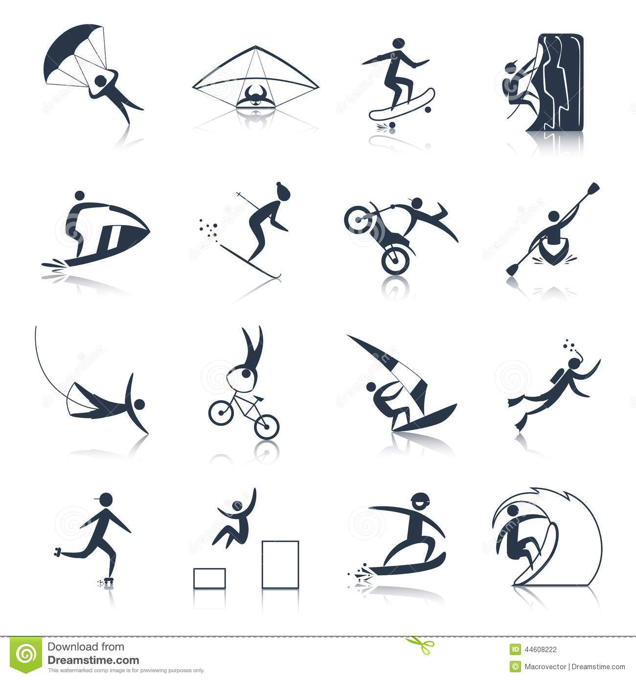 Extreme Sports Icons Black Stock Vector Image Of People