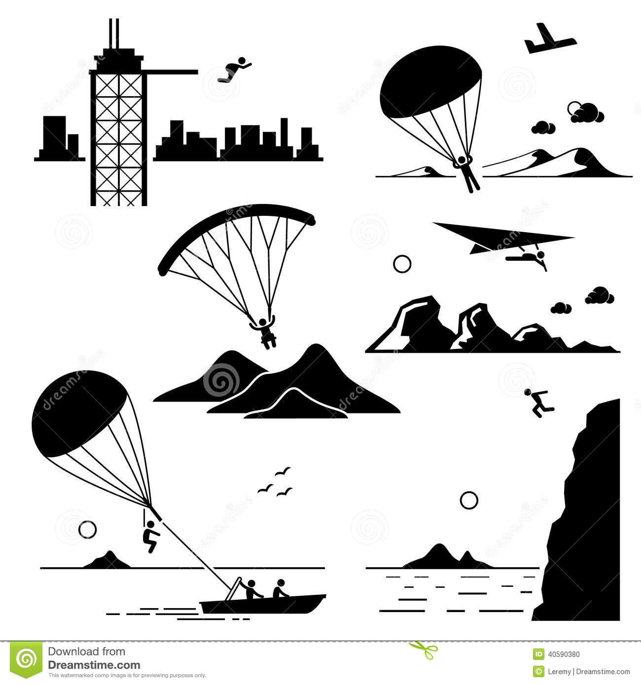 Extreme Sports Icons Cliparts Set 2 Stock Vector