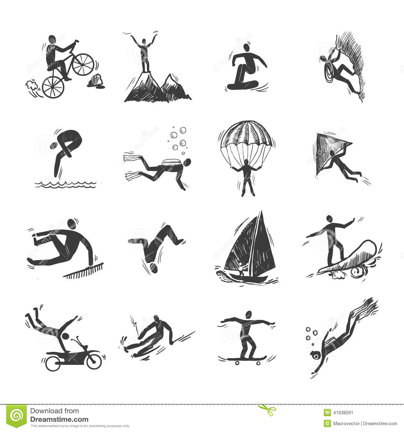 Extreme Sports Icons Sketch Stock Vector