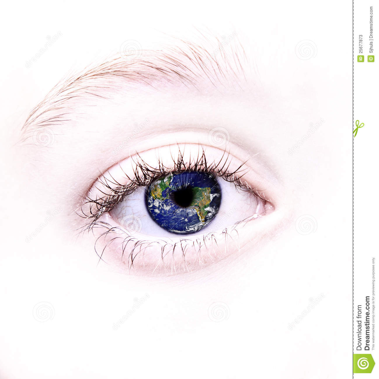 Eye With World Reflected In It Stock Image