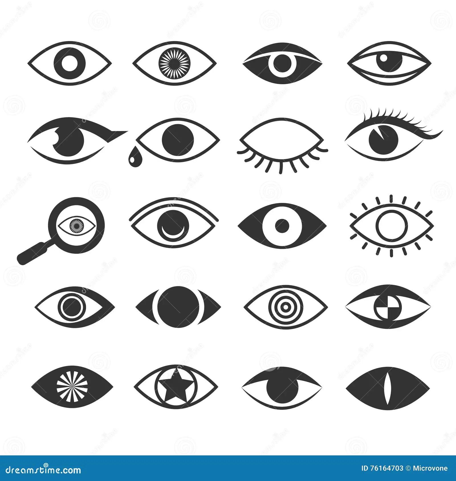 Eyes Icons Set Simple Style Cartoon Vector