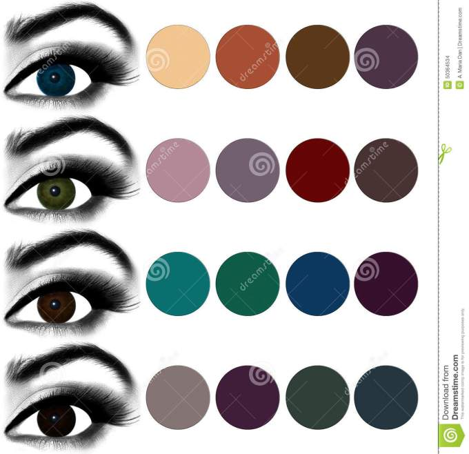 eyes makeup.matching eyeshadow to eye color. stock