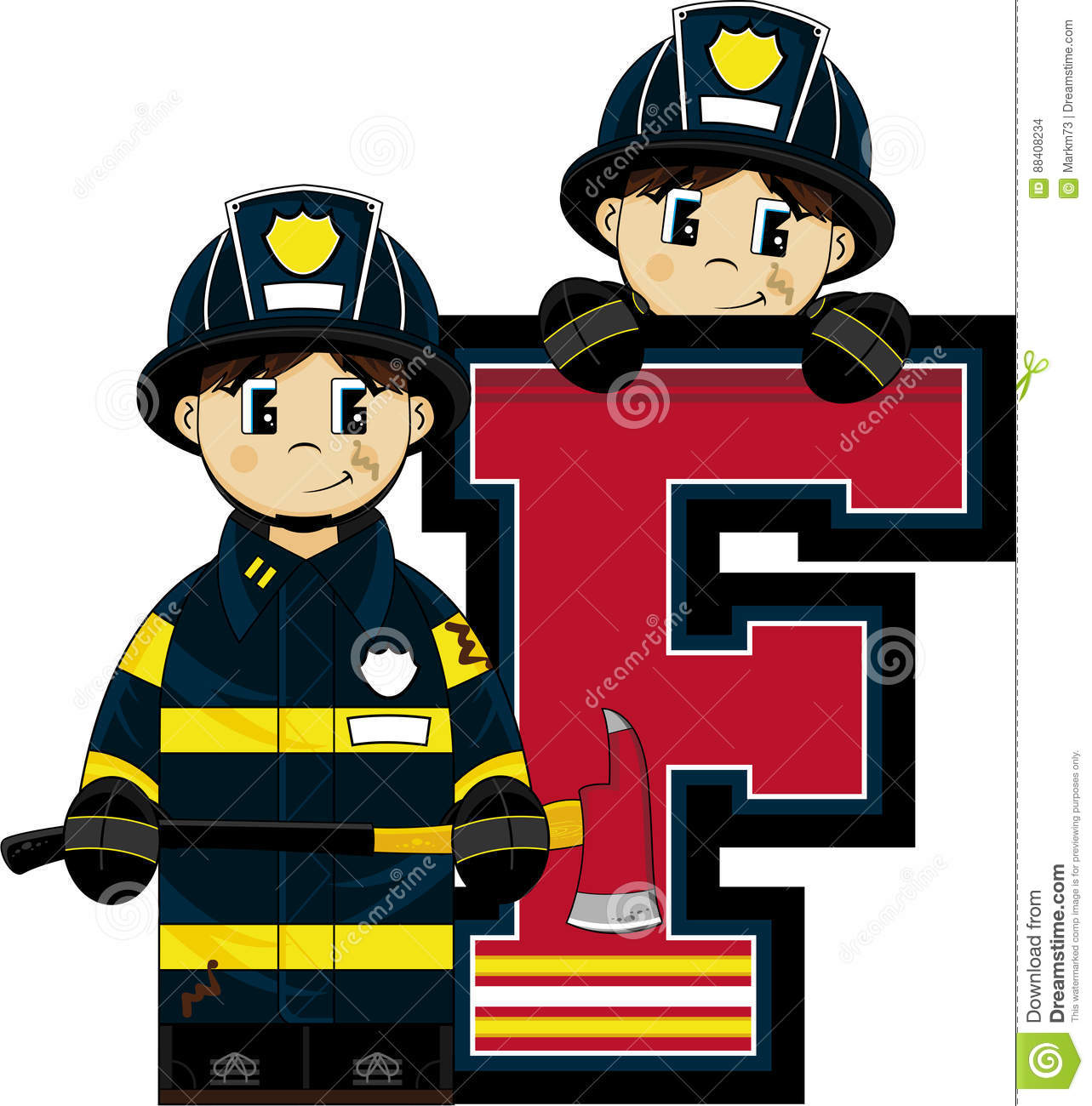F Is For Fireman Stock Vector Illustration Of Occupation