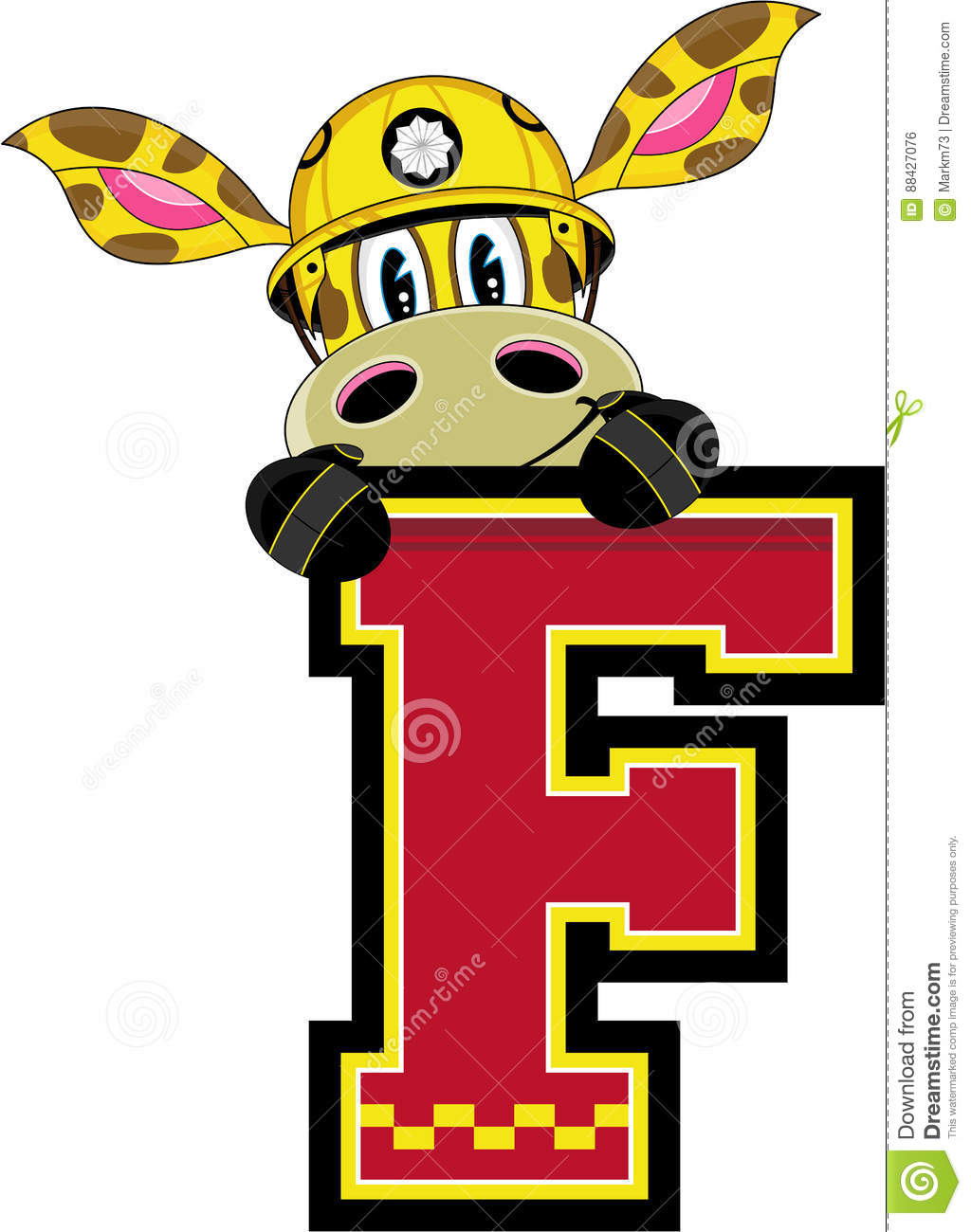 F Is For Fireman Vector Illustration