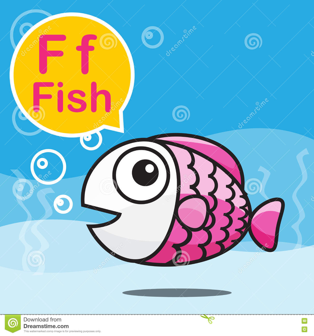 F Fish Color Cartoon And Alphabet For Children To Learning Vecto Stock Vector