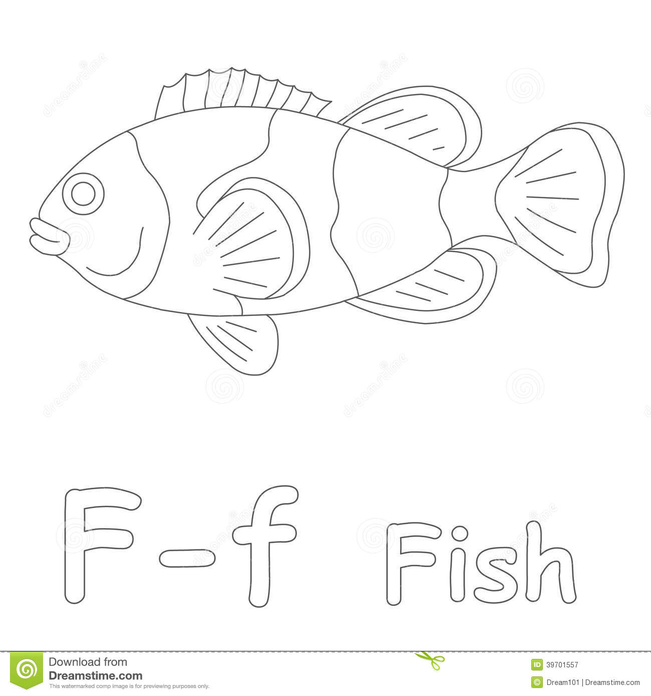 F For Fish Coloring Page Stock Illustration
