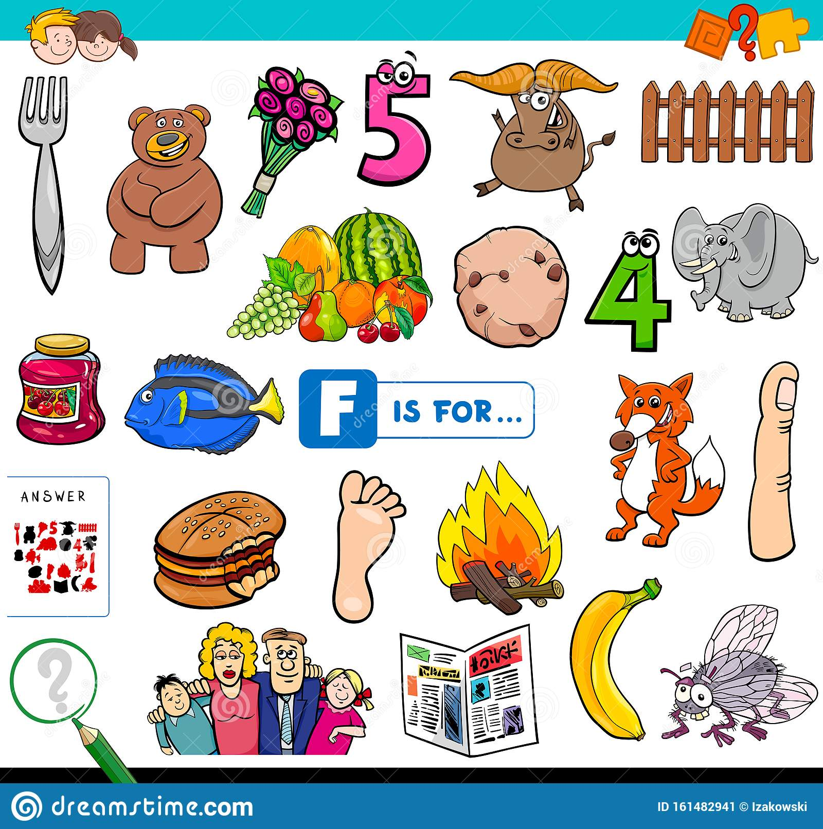 F Is For Words Educational Task For Children Stock Vector