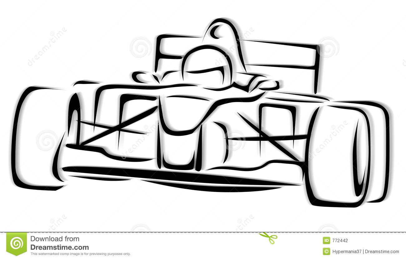 F1 Racing Car Illustration Stock Illustration