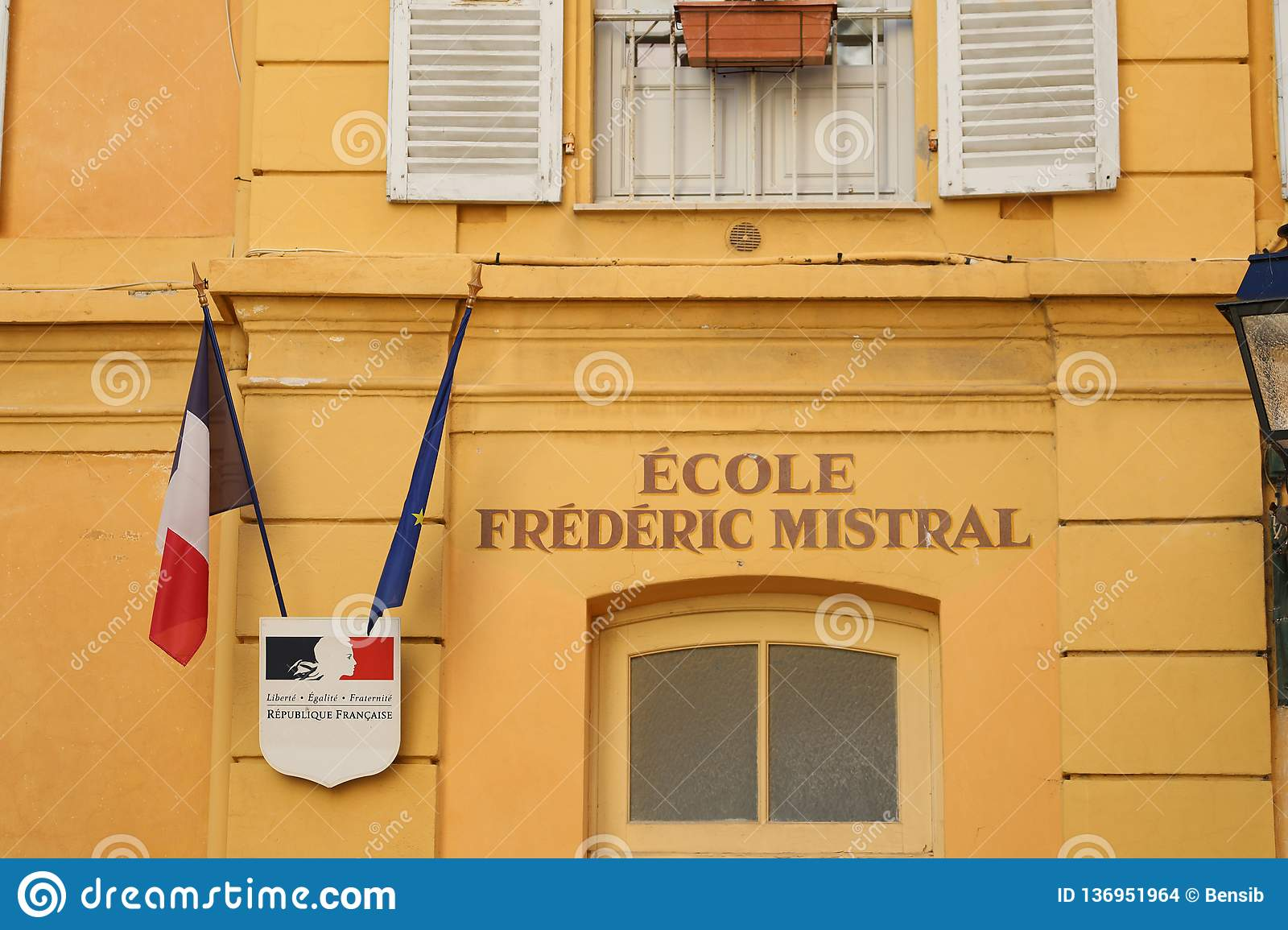 Facade Of An Elementary School In Menton France Editorial
